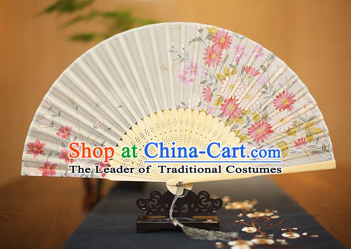 Traditional Chinese Crafts Printing Flowers White Folding Fan, China Sensu Paper Fans for Women