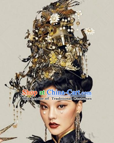 Asian Chinese Ancient Handmade Classical Hair Accessories Hairpins Exaggerated Headdress Phoenix Coronet Complete Set for Women
