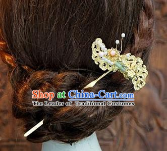 Chinese Handmade Classical Luxurious Jade Hairpins Hair Accessories Ancient Step Shake for Women