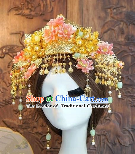 Chinese Handmade Classical Luxurious Hairpins Hair Accessories Ancient Pink Phoenix Coronet for Women