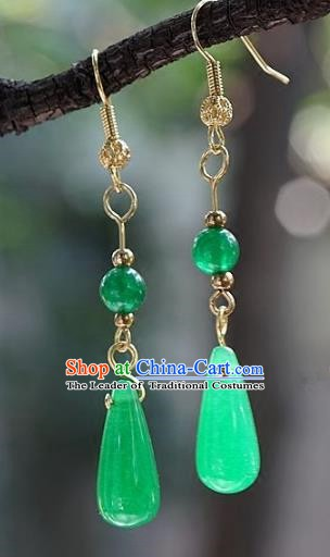Asian Chinese Traditional Handmade Jewelry Accessories Bride Green Jade Earrings for Women