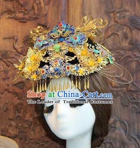 Chinese Handmade Classical Hairpins Hair Accessories Ancient Bride Cloisonne Phoenix Coronet for Women