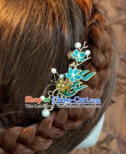 Chinese Handmade Classical Blue Side Hairpins Hair Accessories Ancient Hair Clip for Women