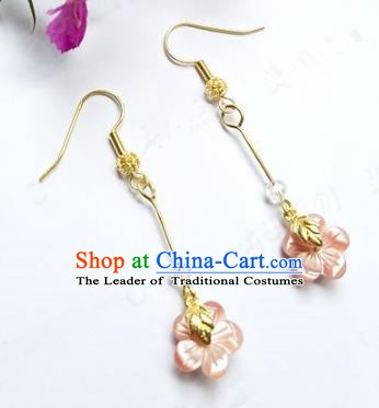 Asian Chinese Traditional Handmade Jewelry Accessories Bride Pink Flowers Earrings for Women