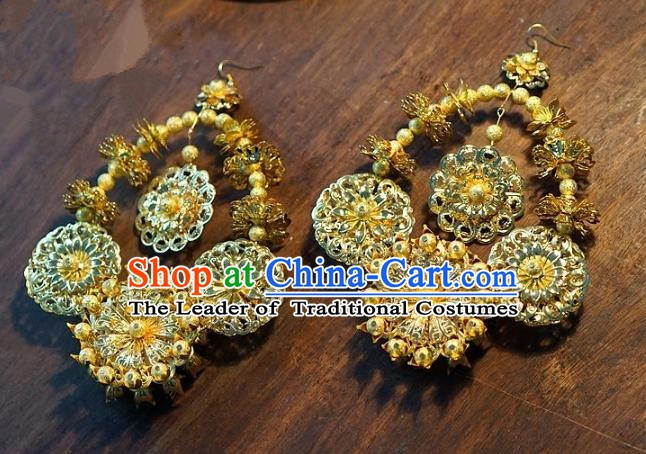 Asian Chinese Traditional Handmade Jewelry Accessories Bride Exaggerated Earrings for Women
