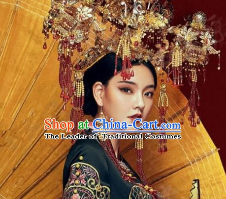Asian Chinese Handmade Classical Hair Accessories Phoenix Coronet Bride Hanfu Hairpins Headwear for Women