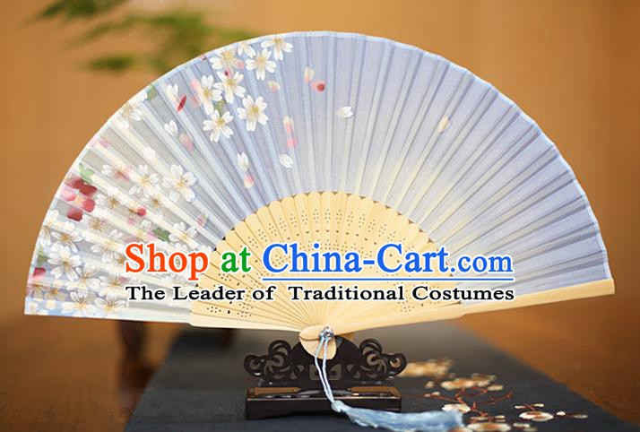 Traditional Chinese Crafts Printing Flowers Blue Folding Fan, China Sensu Paper Fans for Women