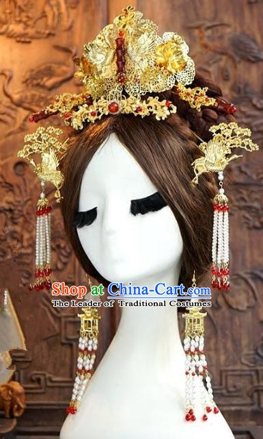 Chinese Ancient Handmade Classical Wedding Hair Accessories Jade Phoenix Coronet Xiuhe Suit Bride Hairpins for Women