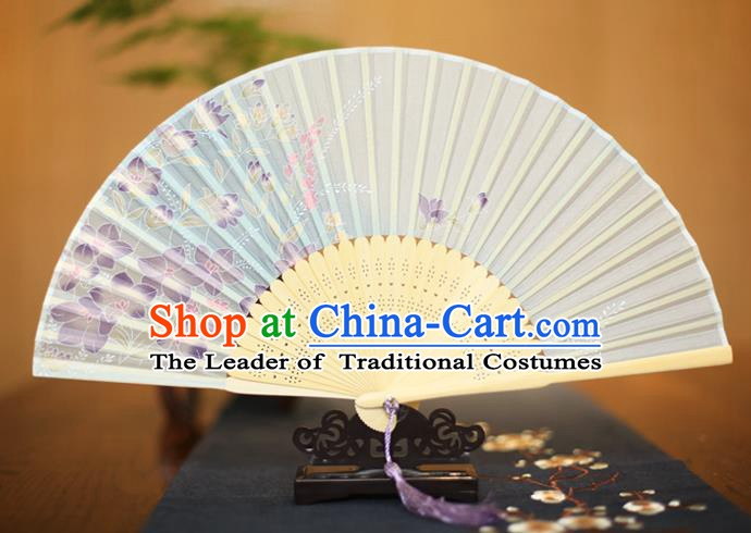 Traditional Chinese Crafts Printing Flowers Folding Fan, China Sensu Paper Fans for Women