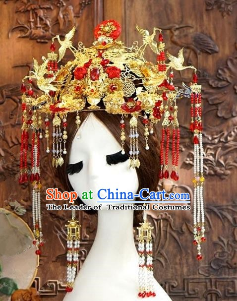 Chinese Ancient Handmade Classical Wedding Hair Accessories Exaggerated Phoenix Coronet Xiuhe Suit Bride Hairpins for Women
