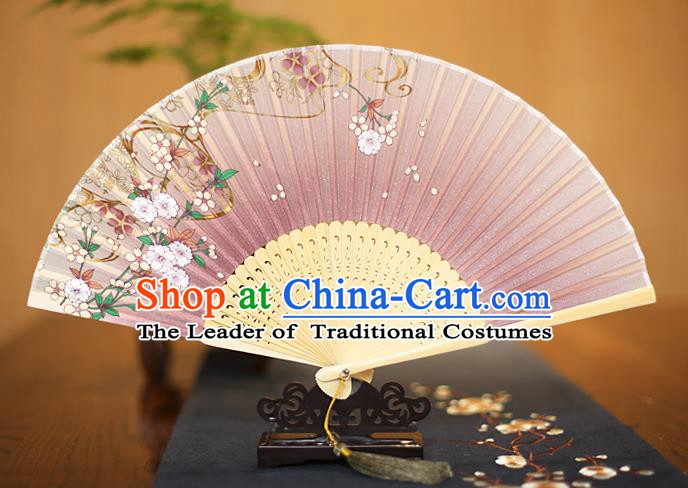 Traditional Chinese Crafts Printing Begonia Folding Fan, China Sensu Paper Fans for Women