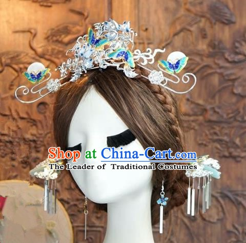 Chinese Handmade Classical Hair Accessories Ancient Palace Lady Cloisonne Phoenix Coronet Hairpins for Women