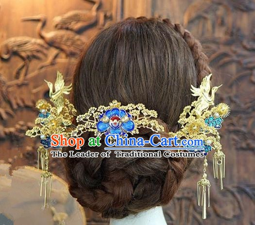Chinese Handmade Classical Hair Accessories Ancient Palace Lady Blueing Hairpins for Women