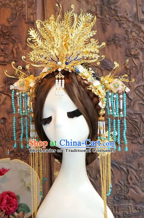 Chinese Handmade Classical Hair Accessories Ancient Tang Dynasty Phoenix Coronet Hairpins Complete Set for Women