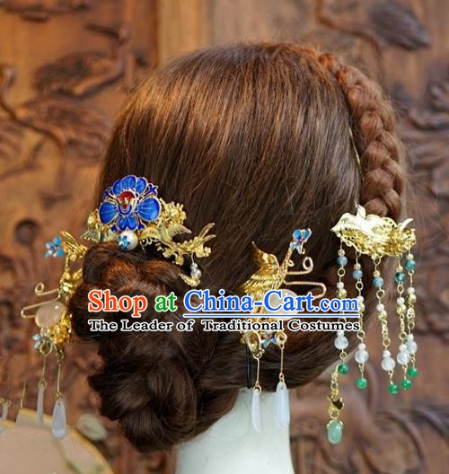 Chinese Ancient Handmade Classical Wedding Hair Accessories Xiuhe Suit Blueing Hairpins Complete Set for Women