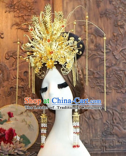 Chinese Ancient Handmade Classical Wedding Hair Accessories Xiuhe Suit Golden Phoenix Coronet Hairpins Complete Set for Women