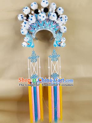 Chinese Beijing Opera Warriors White Venonat Headpiece, China Peking Opera Blues Helmet