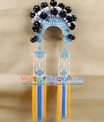 Chinese Beijing Opera Warriors Black Venonat Headpiece, China Peking Opera Blues Helmet