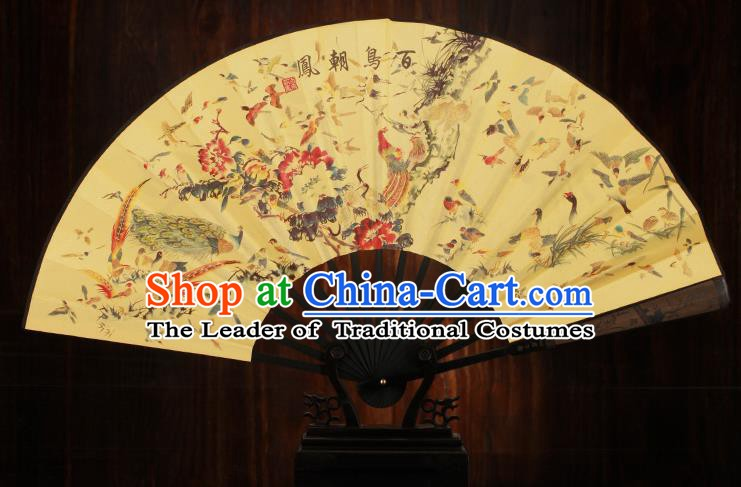 Traditional Chinese Crafts Printing Song of the Phoenix Folding Fan, China Sculpture Framework Silk Fans for Men