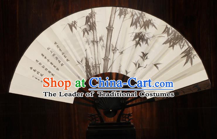 Traditional Chinese Crafts Printing Bamboo Folding Fan, China Sculpture Framework Silk Fans for Men