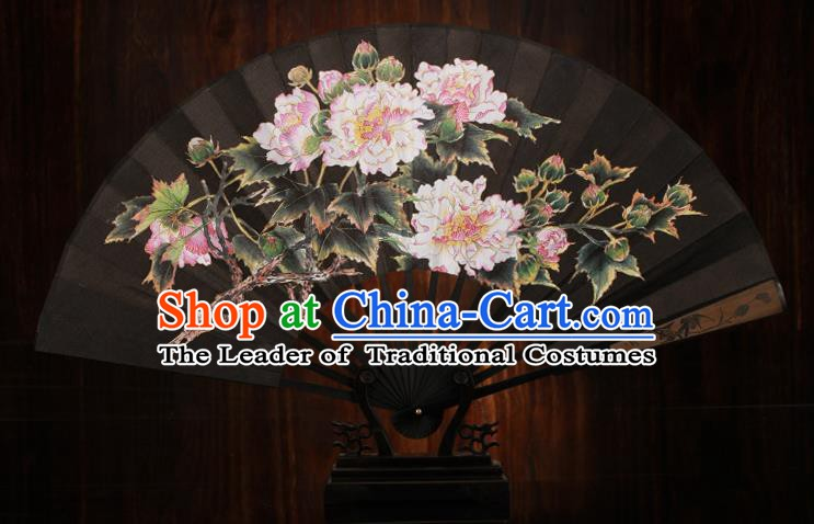 Traditional Chinese Crafts Printing Peony Black Folding Fan, China Sculpture Framework Silk Fans for Men