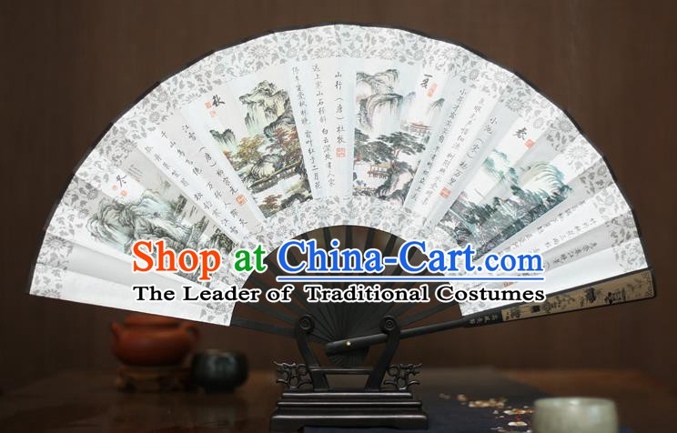Traditional Chinese Crafts Printing Four Seasons Folding Fan, China Sculpture Framework Silk Fans for Men