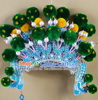 Chinese Beijing Opera Warriors Green Venonat Headpiece, China Peking Opera Blues Helmet