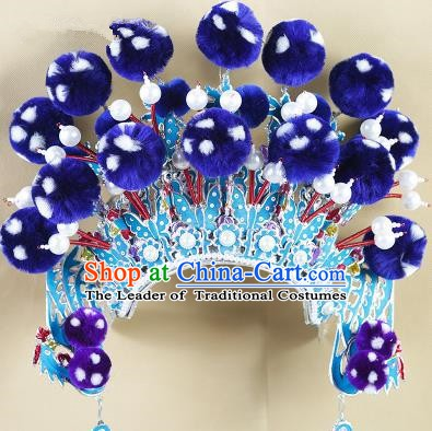 Chinese Beijing Opera Warriors Royalblue Venonat Headpiece, China Peking Opera Blues Helmet