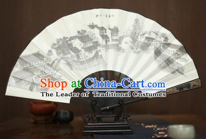 Traditional Chinese Crafts Printing Landscape White Folding Fan, China Sculpture Framework Silk Fans for Men