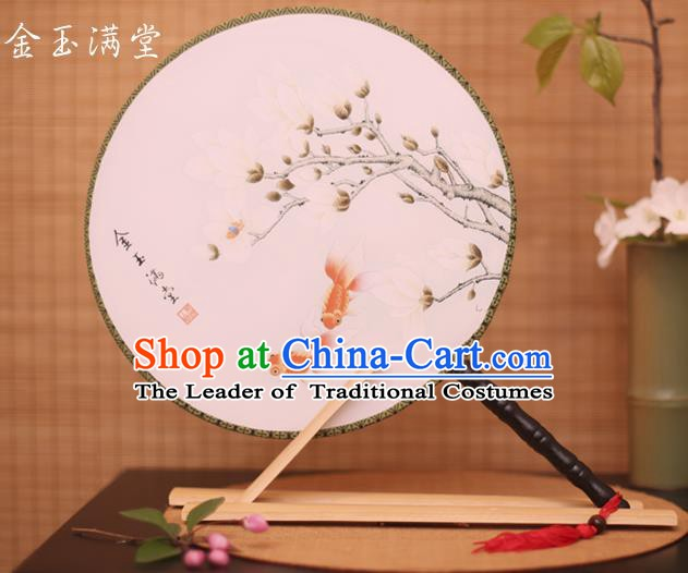 Traditional Chinese Crafts Printing Goldfish Magnolia White Round Fan, China Palace Fans Princess Silk Circular Fans for Women