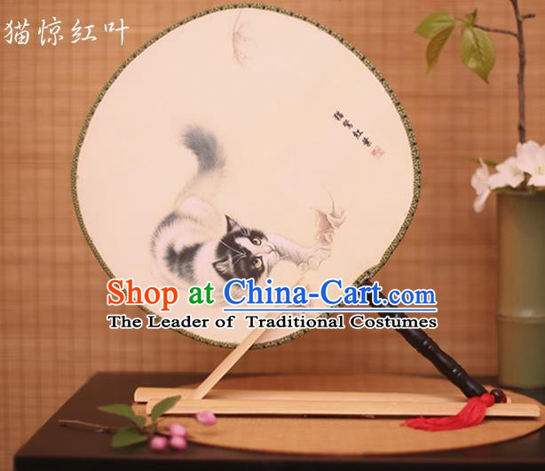 Traditional Chinese Crafts Printing Cat White Round Fan, China Palace Fans Princess Silk Circular Fans for Women