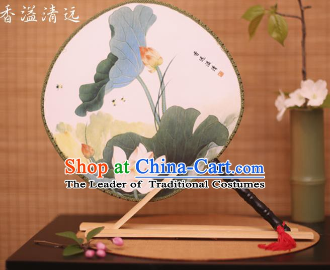 Traditional Chinese Crafts Printing Lotus White Round Fan, China Palace Fans Princess Silk Circular Fans for Women