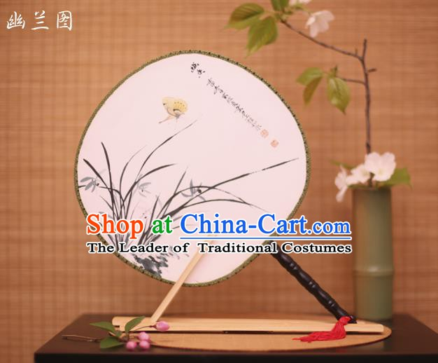Traditional Chinese Crafts Printing Orchid White Round Fan, China Palace Fans Princess Silk Circular Fans for Women