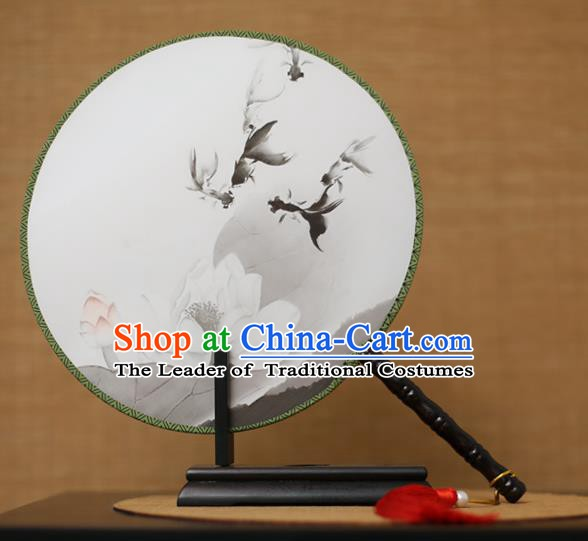 Traditional Chinese Crafts Printing Goldfish Lotus White Round Fan, China Palace Fans Princess Silk Circular Fans for Women