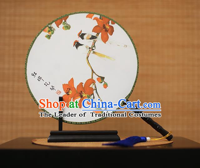 Traditional Chinese Crafts Printing Kapok White Round Fan, China Palace Fans Princess Silk Circular Fans for Women