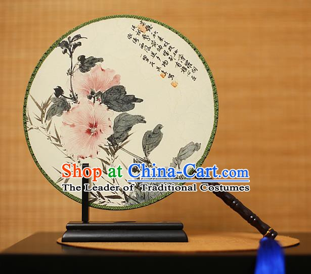 Traditional Chinese Crafts Printing Flowers White Round Fan, China Palace Fans Princess Silk Circular Fans for Women
