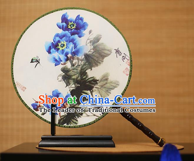 Traditional Chinese Crafts Printing Blue Peony Round Fan, China Palace Fans Princess Silk Circular Fans for Women