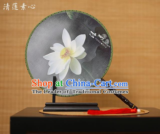 Traditional Chinese Crafts Printing Lotus Black Round Fan, China Palace Fans Princess Silk Circular Fans for Women