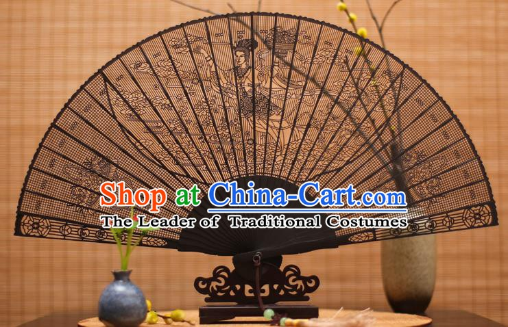 Traditional Chinese Crafts Ebony Folding Fan Carving Fairy Sandalwood Fans for Women