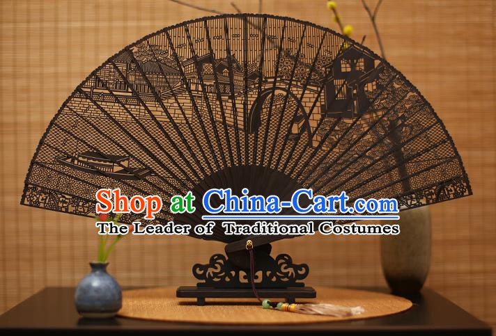 Traditional Chinese Crafts Ebony Folding Fan Carving Scenery Sandalwood Fans for Women