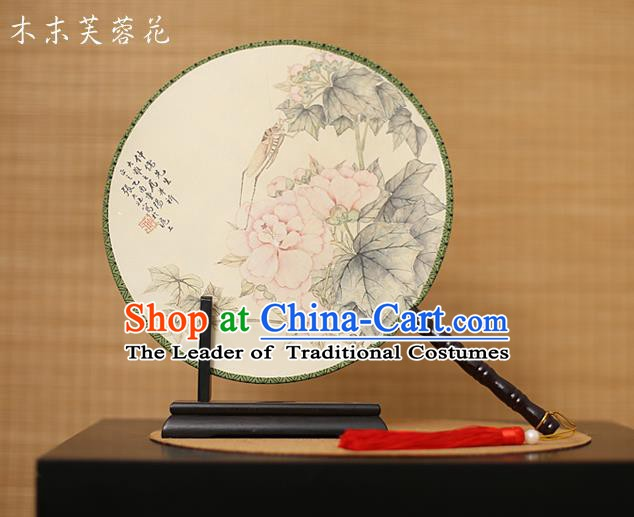 Traditional Chinese Crafts Printing Hibiscus Round Fan, China Palace Fans Princess Silk Circular Fans for Women