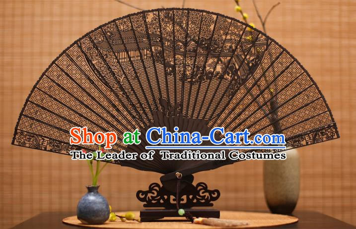 Traditional Chinese Crafts Ebony Folding Fan Carving Courtyard Sandalwood Fans for Women