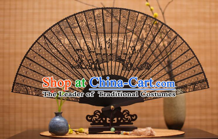 Traditional Chinese Crafts Ebony Folding Fan Carving Sandalwood Fans for Women