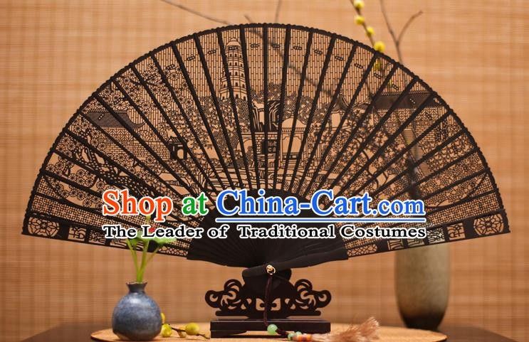 Traditional Chinese Crafts Ebony Folding Fan Carving Pagoda Sandalwood Fans for Women