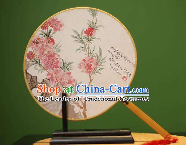 Traditional Chinese Crafts Printing Peach Blossom Round Fan, China Palace Fans Princess Silk Circular Fans for Women