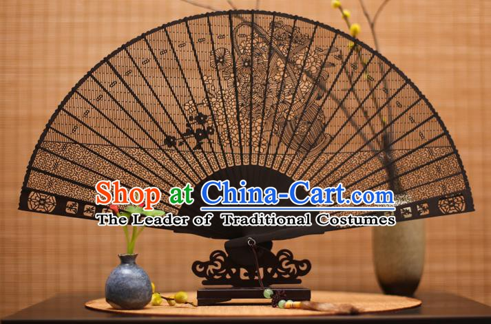 Traditional Chinese Crafts Ebony Folding Fan Carving Flowers Sandalwood Fans for Women