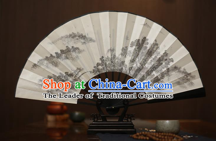 Traditional Chinese Crafts Printing White Folding Fan, China Sculpture Framework Silk Fans for Men