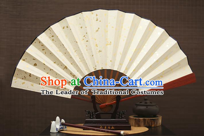 Traditional Chinese Crafts White Folding Fan, China Xuan Paper Fans for Men