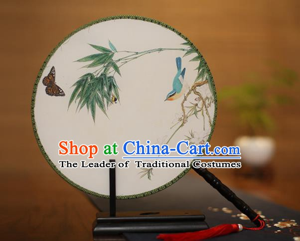 Traditional Chinese Crafts Printing Bamboo Round Fan, China Palace Fans Princess Silk Circular Fans for Women