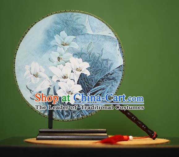 Traditional Chinese Crafts Printing Lily Flowers Round Fan, China Palace Fans Princess Silk Circular Fans for Women